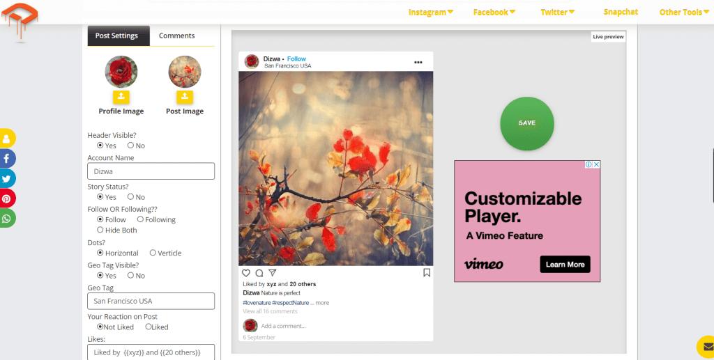 Best Instagram post simulators
